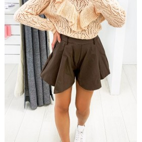 SHORTS SIMILPELLE BROWN
